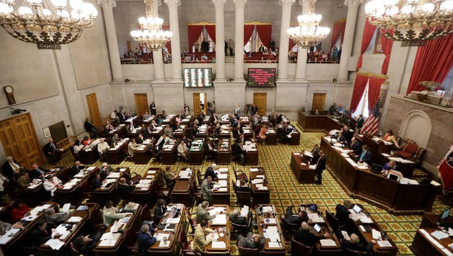 Debate on Gov. Bill Haslam's road and bridge funding bill takes place in the House of Representatives on April 19, 2017, in Nashville.