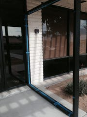 A glass panel near the entrance of the Desert Hot Springs Chamber of Commerce and Visitors Center was broken by vandals at some point over the weekend.