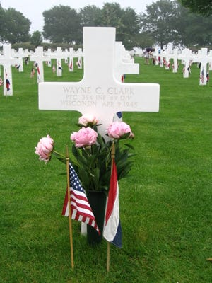 The gravesite of Pfc. Wayne C. Clark, is at the Netherlands American Cemetery in Margraten.