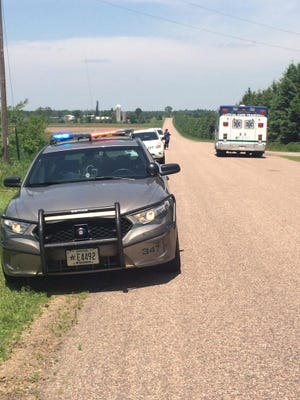 Marathon County sheriff's deputies and other emergency crews respond to a shooting incident involving an 11-year-old boy along Esker Road south of Hatley.