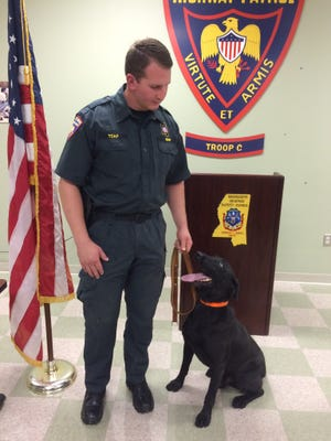 MHP K9 Smoke and his handler, Cpl Andrew Sisk
