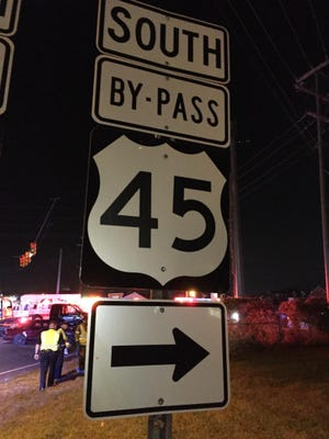 A truck and a car were involved in an accident on the US 45 Bypass at North Parkway Sunday night, with two people sustaining minor injuries.