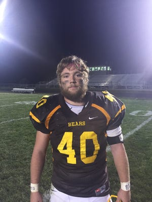 Jansen Blevins rushed for three touchdowns in Monroe Central's 60-14 win over Anderson Prep.