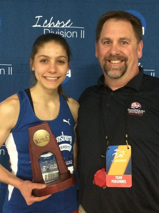 Shippensburg University sophomore Megan Lundy, a Central York graduate, poses with assistant coach Doug Knol after finishing eighth in the 400 meters at the NCAA Division II indoor track and field championships. (Submitted)