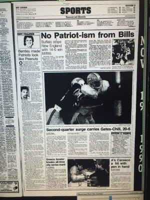 The Democrat and Chronicle sports page on Nov. 19, 1990 after the Bills shut out the Patriots.