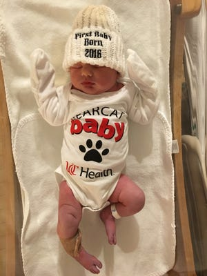 Adelyn Faith Delaney was born to Iris Wallace and Chad Delaney at 12:07 a.m. Jan. 1, 2016.