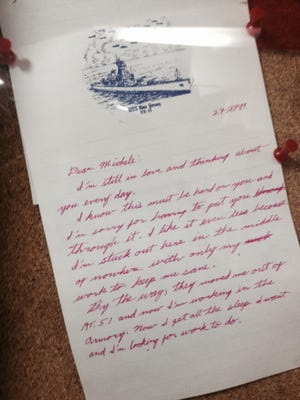 Love letter on Battleship New Jersey stationery sent from a crewman to his sweetheart in 1989. It is part of a new exhibit called Love Letters on the retired ship, now a museum on the Camden waterfront