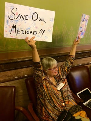 Cedar Rapids resident Melyssa-Jo Kelly, an advocate of oversight of Iowa's Medicaid privatization, spoke before lawmakers Feb. 24.