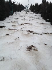 This photo shows deteriorating snowpack on the Lift Line trail at Mad River Glen in Fayston during the 2015-16 ski season.