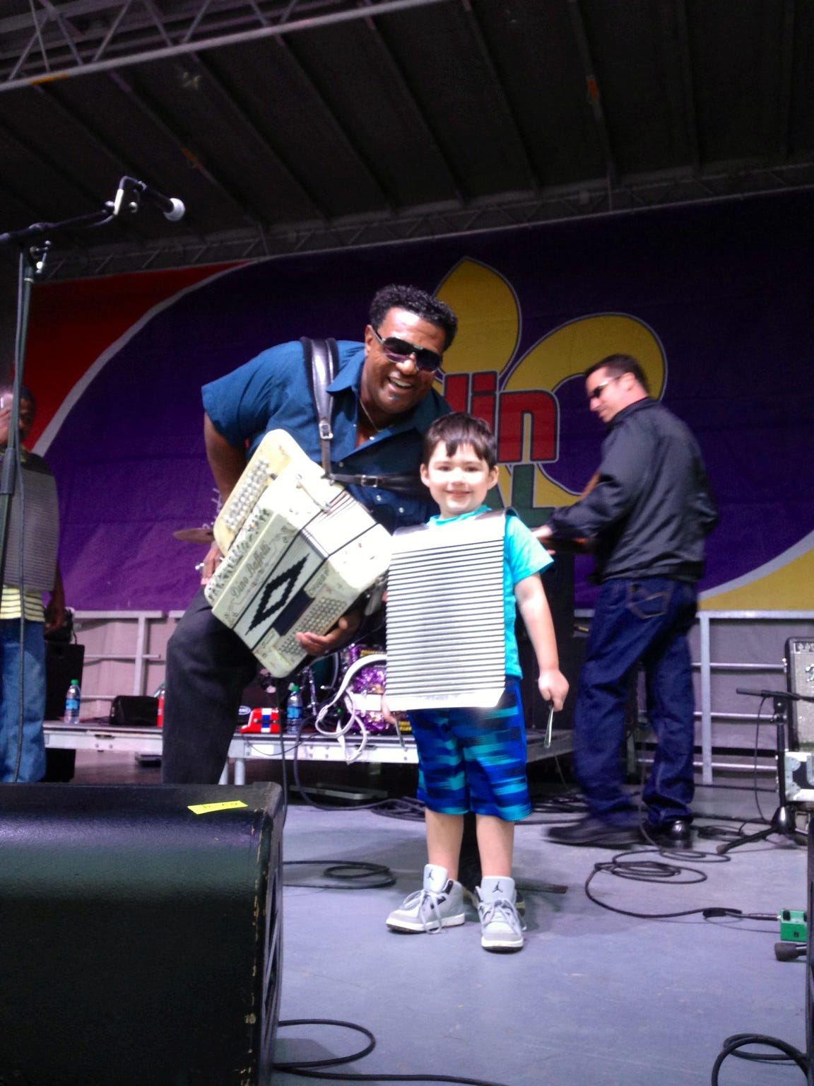 My son, Dylan, onstage with Chubby Carrier at the Scott