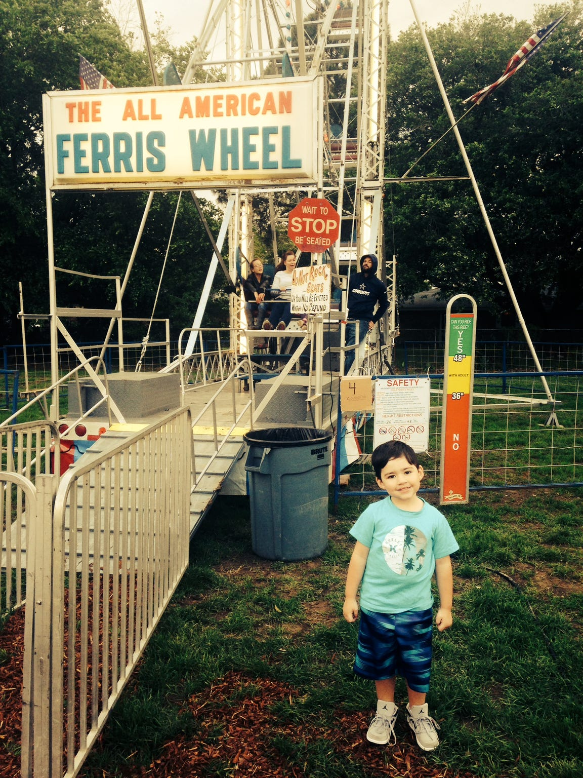 My son, Dylan, took his first ride on the Ferris Wheel on April 1 at the Scott Boudin Festival.