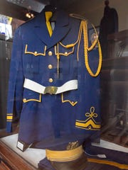 A Hartland High School marching band uniform dating from the late '50s to the mid '70s is on display in a showcase at the Florence B. Dearing Museum in the village of Hartland.