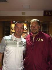 Former  FSU teammates J.D. Drew and Jeremy Morris Friday night.