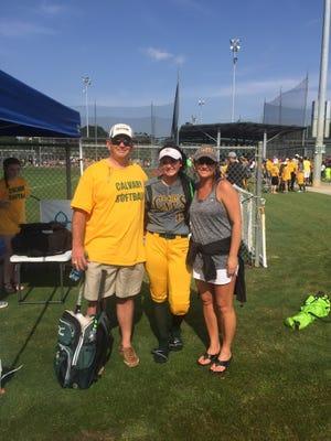 Jaf, Jordan and Shelly Fielder share a moment at Sulphur's Frasch Park over the weekend.