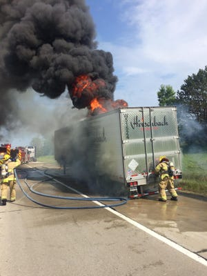 Brighton firefighters work to extinguish a semi-tractor trailer fire on westbound Interstate 96 between Grand River Avenue and Dorr Road in Genoa Township around 9 a.m. Friday.