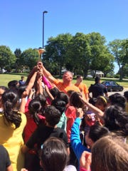 South Brunswick Police Officers took the Special Olympics Torch Run to township schools.