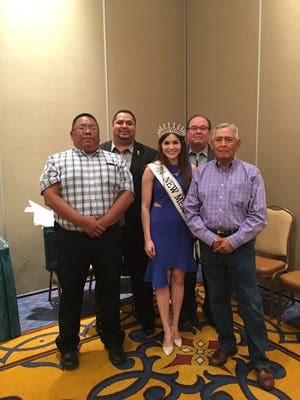 Mescalero tribal leaders took part in scholarship award ceremonies at the Inn of the Mountain Gods Friday. (Left to right) Kelton Starr, tribal education director; Frizzell Frizzell Jr., IMG chief operating officer; Miss New Mexico United States Vanessa Hernandez; tribal President Danny Breuninger; and Alfred LaPaz, chair of the tribal council education committee.