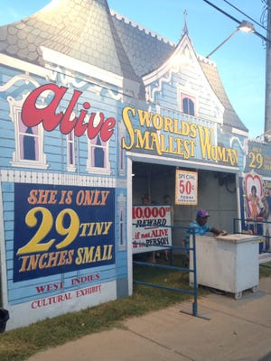 The World's Smallest Woman booth at the Delaware State Fair.