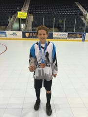 Gavin Brindley, 11, son of former Everblades captain Ryan Brindley, was one of the top scorers for his Pee Wee Division team in the North American Roller Hockey Championships that concluded Sunday, July 24, 2016, in Estero.