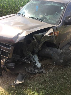 K-9 deputy Gary Wilson's vehicle was badly damaged in a collision Sunday.