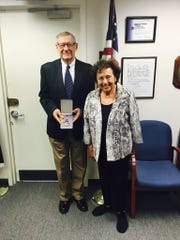 From left: Martin Druckerman of White Plains was presented with his father's Purple Heart and other World War I awards by U.S. Rep. Nita Lowey.