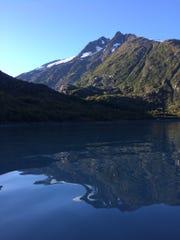 Portage Lake was calm on the return kayak trip.