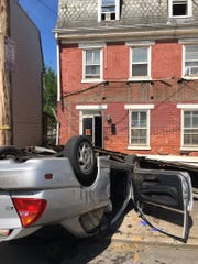 An adult male was hospitalized after a crash with entrapment in the 700 block of East Prospect Street in York Thursday afternoon.