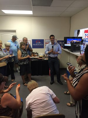 Democratic candidate for Nevada's 4th Congressional District Ruben Kihuen talks to supporters at the office of the Virgin Valley Democrats in Mesquite during an August visit.