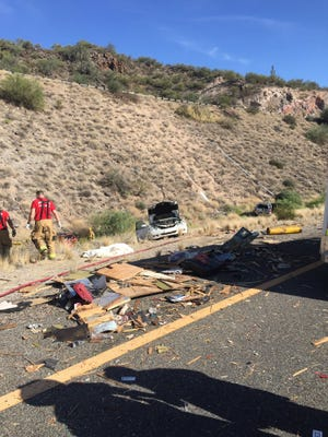 The aftermath of a collision involving up to 20 vehicles on Interstate 17 on Sunday.