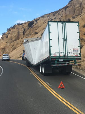 Big-rig truck blocking traffic along Grimes Road between Moorpark and Bardsdale.