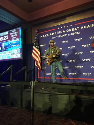 Bryan Lewis, a Licking County singer and songwriter, performed Tuesday night at Donald Trump's Ohio Headquarters.