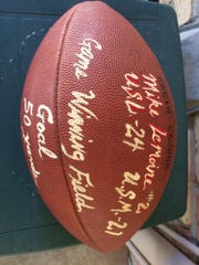 Mike Lemoine's game ball that he received after the 50-yard field goal in the win over USM in 1989.