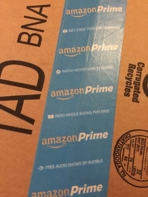 An Amazon delivery box. The company announced it plans to open a distribution center in Livonia.