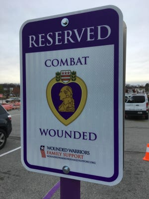 New 'Purple Heart' priority parking has been installed outside Jackson's Home Depot for service members wounded in combat.