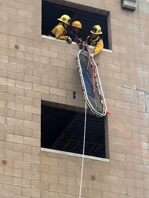 Firefighters with Ventura County Fire Department Station 27 perform rope rescue training in Fillmore.