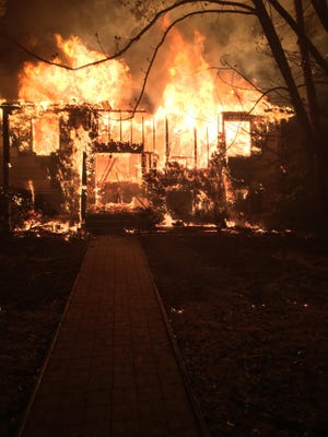 An abandoned home on Shore Acres Drive went up in flames.