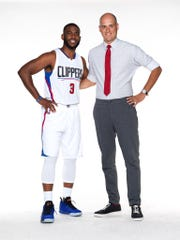 "Domini Agostini, right, with his ""co-star"" in a series of State Farm Insurance commercials, NBA All-Star Chris Paul."