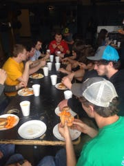 Students gathered in the shop for lunch to celebrate National FFA Week.