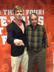 Senior Trey Price poses for a photo with his grandfather, whose class ring he inherited, at Clemson University's fall Ring Ceremony in 2016.