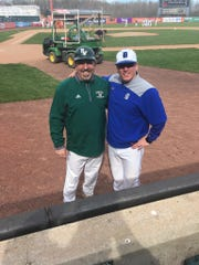 Passaic Valley coach John Mazzo (left) and NV/Demarest coach Marc Houser before the game at Aberdeen, Md.