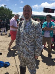 James Denk, of Milwaukee, Wisconsin, came to the Kentucky Derby for a bachelor party.