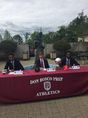 Three Don Bosco Prep basketball players made formal commitments to play in college. From left, Chris Paul (St. Anselm), Charlie Bagin (Princeton) and Manley Dorme (Caldwell)