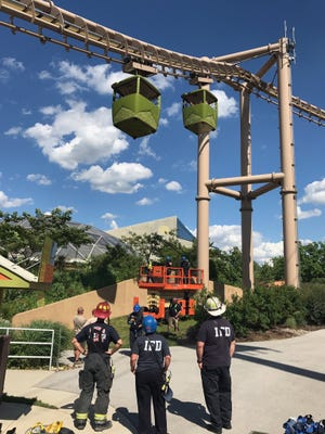 Five people became stuck in the Indianapolis Zoo Skyline ride on June 19, 2017.