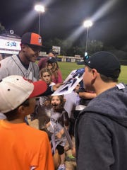 Tigers draft pick Dane Myers signs autographs after