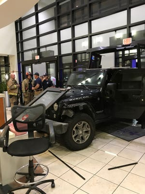 A man drove his vehicle into the Sacred Heart Emergency Room entrance early on Thursday, Aug. 17, 2017.