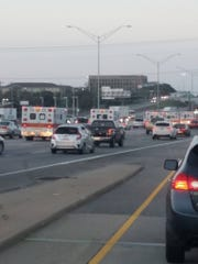 Five first responder units are spotted on I-35 in Austin,