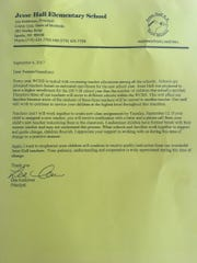 A photo of a letter sent to parents of Jesse Hall Elementary School in Sparks, informing them that the school was losing three allocations.