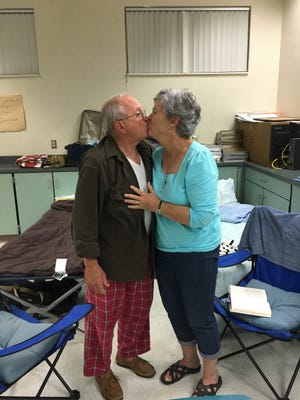 Bob and Ditsie Scobie celebrate their 51st wedding anniversary at the shelter in Port St. John during Hurricane Irma.