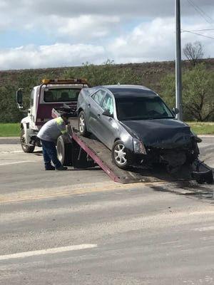 Two vehicles collided at FM 2105 and U.S. 87 on Thursday, sending both drivers to the hospital.
