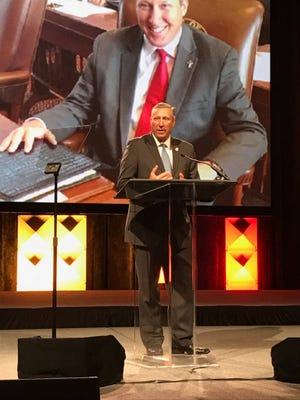 State Rep. Drew Springer, R-Muenster, speaks at a Texas Municipal League event Wednesday. Springer was selected by the TML as one of the four top legislators in 2017 for his work to create legislation that benefits communities.